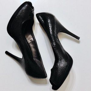 Calvin Klein| black faux snake skin heels shoes